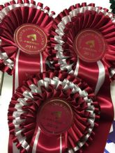 Three Tier Rosettes - Maroon & White
